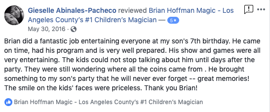 5 star review for Brian