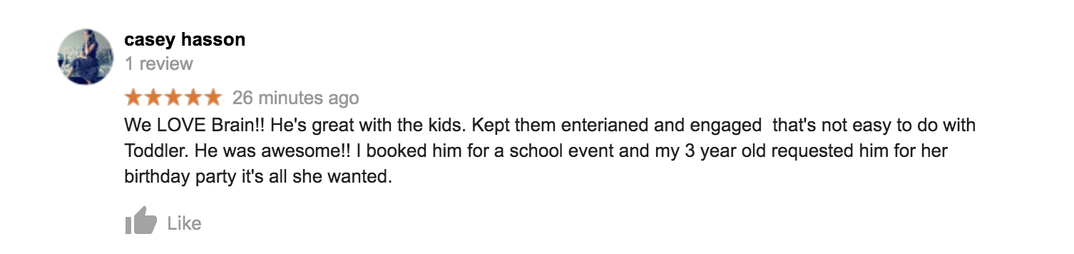 Google Review Kids Magic Show May 2019 2